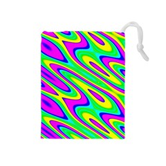 Lilac Yellow Wave Abstract Pattern Drawstring Pouches (medium)  by Celenk
