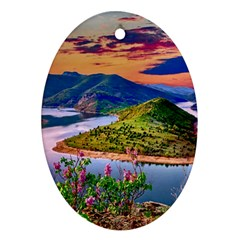 Landscape River Nature Water Sky Oval Ornament (two Sides) by Celenk