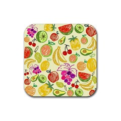 Cute Fruits Pattern Rubber Coaster (square)