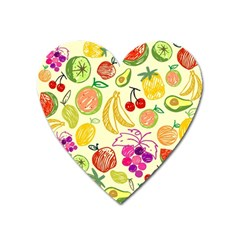 Cute Fruits Pattern Heart Magnet by paulaoliveiradesign