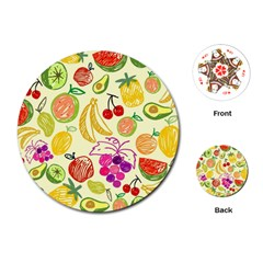Cute Fruits Pattern Playing Cards (round)  by paulaoliveiradesign