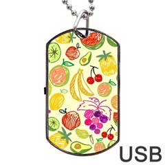 Cute Fruits Pattern Dog Tag Usb Flash (one Side) by paulaoliveiradesign