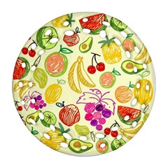 Cute Fruits Pattern Round Filigree Ornament (two Sides) by paulaoliveiradesign