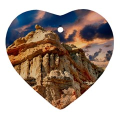 Canyon Dramatic Landscape Sky Heart Ornament (two Sides) by Celenk