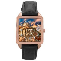 Canyon Dramatic Landscape Sky Rose Gold Leather Watch  by Celenk