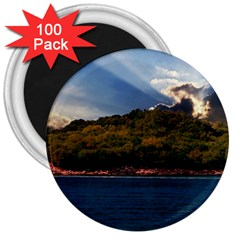 Island God Rays Sky Nature Sea 3  Magnets (100 Pack) by Celenk