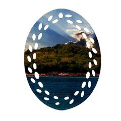 Island God Rays Sky Nature Sea Oval Filigree Ornament (two Sides) by Celenk