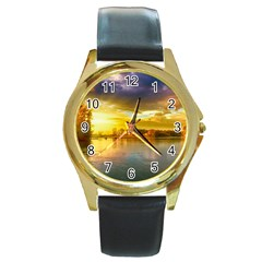 Landscape Lake Sun Sky Nature Round Gold Metal Watch by Celenk