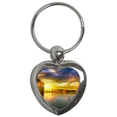Landscape Lake Sun Sky Nature Key Chains (heart)  by Celenk