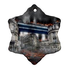 Destruction City Building Snowflake Ornament (two Sides) by Celenk