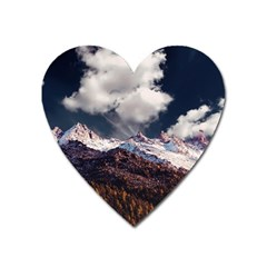 Mountain Sky Landscape Hill Rock Heart Magnet by Celenk