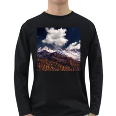 Mountain Sky Landscape Hill Rock Long Sleeve Dark T Shirts by Celenk