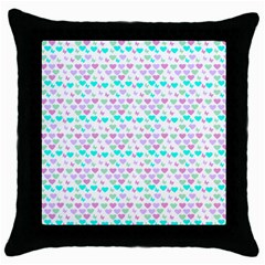 Hearts Butterflies White  Throw Pillow Case (black) by snowwhitegirl