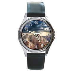 Nature Landscape Clouds Sky Rocks Round Metal Watch by Celenk
