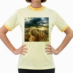 Nature Landscape Clouds Sky Rocks Women s Fitted Ringer T Shirts by Celenk