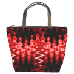 Red And Black Wave Pattern Bucket Bags by Celenk