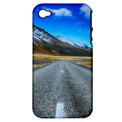 Road Mountain Landscape Travel Apple Iphone 4/4s Hardshell Case (pc+silicone) by Celenk
