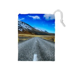 Road Mountain Landscape Travel Drawstring Pouches (medium)  by Celenk