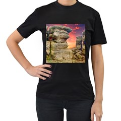 Rocks Landscape Sky Sunset Nature Women s T Shirt (black) by Celenk