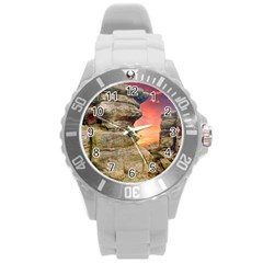 Rocks Landscape Sky Sunset Nature Round Plastic Sport Watch (l) by Celenk