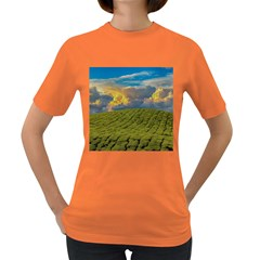Sunrise Hills Landscape Nature Sky Women s Dark T Shirt by Celenk