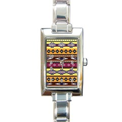 Colorful Tribal Art   Boho Pattern Rectangle Italian Charm Watch by tarastyle