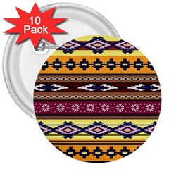Colorful Tribal Art   Boho Pattern 3  Buttons (10 Pack)  by tarastyle