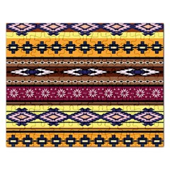 Colorful Tribal Art   Boho Pattern Rectangular Jigsaw Puzzl