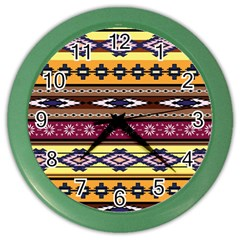 Colorful Tribal Art   Boho Pattern Color Wall Clocks by tarastyle
