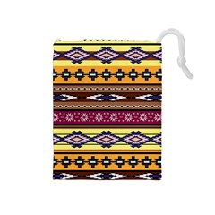 Colorful Tribal Art   Boho Pattern Drawstring Pouches (medium)  by tarastyle