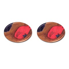 Red Worm Cufflinks (oval) by snowwhitegirl