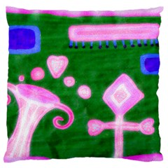 Hearts For The Pink Cross Large Flano Cushion Case (one Side) by snowwhitegirl