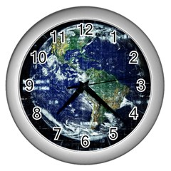 Earth Internet Globalisation Wall Clocks (silver)  by Celenk