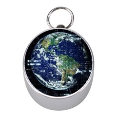 Earth Internet Globalisation Mini Silver Compasses by Celenk