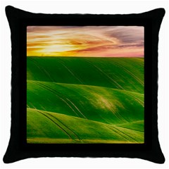 Hills Countryside Sky Rural Throw Pillow Case (black)