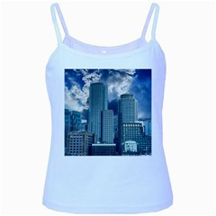 Tower Blocks Skyscraper City Modern Baby Blue Spaghetti Tank by Celenk