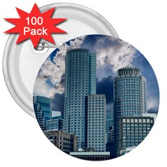Tower Blocks Skyscraper City Modern 3  Buttons (100 Pack)  by Celenk