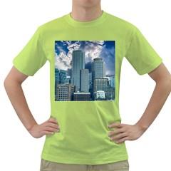 Tower Blocks Skyscraper City Modern Green T Shirt by Celenk