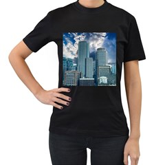 Tower Blocks Skyscraper City Modern Women s T Shirt (black) (two Sided) by Celenk