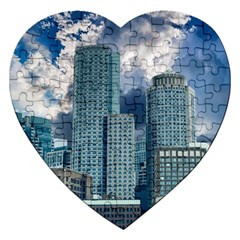 Tower Blocks Skyscraper City Modern Jigsaw Puzzle (heart) by Celenk