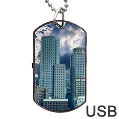 Tower Blocks Skyscraper City Modern Dog Tag Usb Flash (two Sides) by Celenk