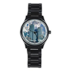 Tower Blocks Skyscraper City Modern Stainless Steel Round Watch by Celenk