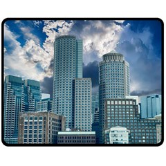 Tower Blocks Skyscraper City Modern Double Sided Fleece Blanket (medium)  by Celenk