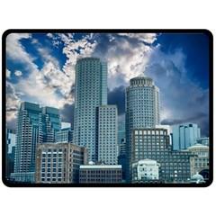 Tower Blocks Skyscraper City Modern Double Sided Fleece Blanket (large)