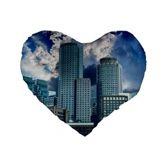 Tower Blocks Skyscraper City Modern Standard 16  Premium Flano Heart Shape Cushions by Celenk