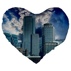 Tower Blocks Skyscraper City Modern Large 19  Premium Flano Heart Shape Cushions by Celenk