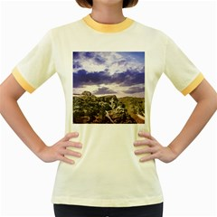 Mountain Snow Landscape Winter Women s Fitted Ringer T Shirts