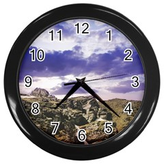 Mountain Snow Landscape Winter Wall Clocks (black)