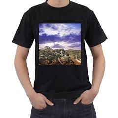 Mountain Snow Landscape Winter Men s T Shirt (black) (two Sided)