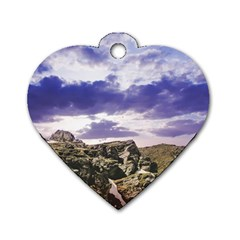 Mountain Snow Landscape Winter Dog Tag Heart (two Sides)